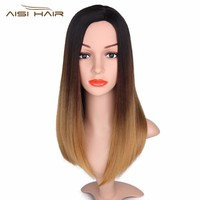 I's a wig 16 inch Long Ombre Straight Brown Wigs Synthetic Blonde Wig for Women Heat Resistant For African American Hair