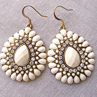 White Statement Earrings Gold Rhinestone Teardrop Earring Boho Jewelry