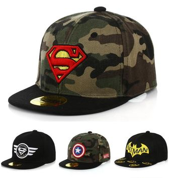 Batman Dark Knight gift Christmas New Boys Girls Camo Caps Children Batman Visor Kids Beanie Hip Hop Hats Baby Sunshade Hats Casquette Baseball Cap Snapback DS19 AT_71_6