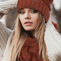 CC Cable Knit Confetti Hat with Pom Pom