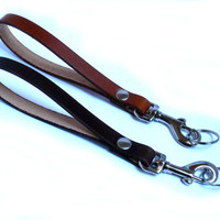 Leather wristlet strap, with trigger hook, leather keychain, handmade, available in 15 colors