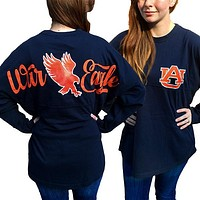 Auburn Tigers War Eagle Women's Logo Sweeper Long Sleeve Oversized Top Shirt
