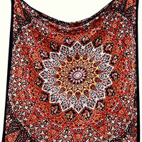 Popular Handicrafts Hippie Kaleidoscopic Star Intricate Floral Design Indian Bedspread Tapestry 84x90 Inches,(215cmsx230cms) Red Black