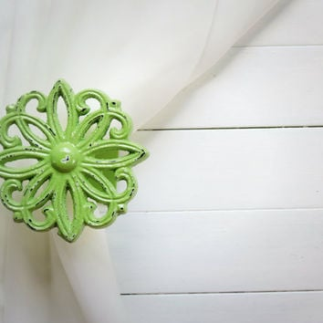 Two Metal Curtain Tie Backs / Curtain Tiebacks / Curtain Holdback / Drapery Tieback / Shabby Chic Window /Mint Green Home Decor/Curtain Hook