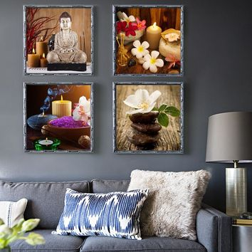 4 Piece Canvas Art Modern Printed Buddha Painting Picture Decoration Buddha Paintings Wall Canvas Pictures For Living Room