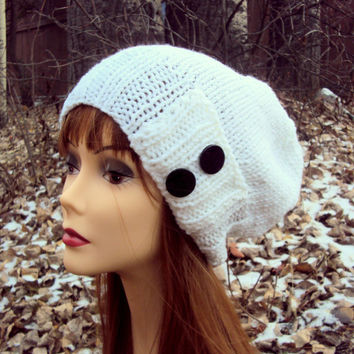 Women's KNIT BUTTON HAT Slouchy Beanie Slouch Hat Knit Winter Hat White Chunky Hat Women Clothing Accessories Gift Ideas Under 50