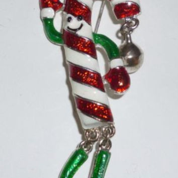 Moveable Christmas Candy Cane Pin