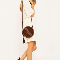 Brown Suede Whipstitch Round Bag - Urban Outfitters