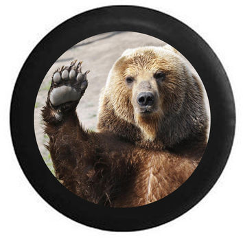 Waving Brown Grizzly Bear Paw Wave Wildlife Jeep RV Camper Spare Tire Cover