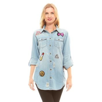 Faded Distressed  Denim Button Down Shirt with Patches