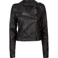 ASHLEY Studded Faux Leather Womens Biker Jacket