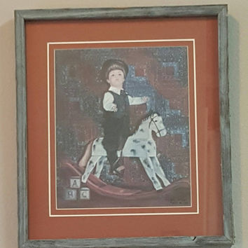 Glynda Turley Framed Print,Vintage Signed and Numbered Print W/COA,Rare Limited Edition,Boy on Rocking Horse