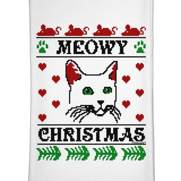 Meowy Christmas Cat Knit Look Flour Sack Dish Towels by TooLoud