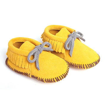 Sunshine Yellow Suede Moccasin Booties