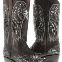 Cowboy Professional - Women's Wings with Heart Brown Leather Cowboy Boots with Silver Sequin Size 8