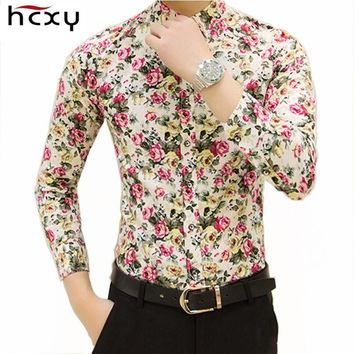 HCXY 2016 new fashion spring flower shirts for men casual designer large size men floral shirts camisas masculinas social