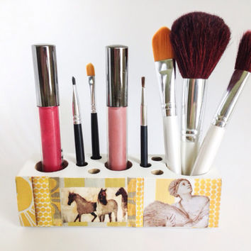 Makeup Brushes Decoupage Box Organizer