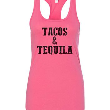 Womens Tacos & Tequila Grapahic Design Fitted Tank Top