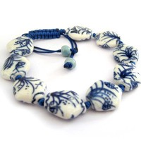 Vintage Style Porcelain Beads Grass Butterfly Adjustable Bracelet - Like Love Buy