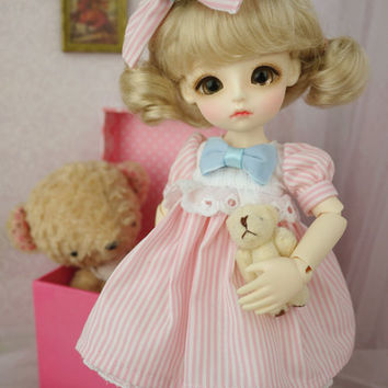 Blythe Pink Stripes Dress with Pink Bow on Front | Doll Apparel | Doll Fashion | Doll Dress
