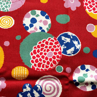 Traditional Japanese Fabric - Cotton Fabric - Flower Fabric - Chrysanthemums - Multi Pattern Rabbits  Red 1 Yard (F55)
