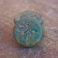Dragonfly Bead - 23mm Czech Glass Beads - Matte Aqua Picasso - 2 pcs