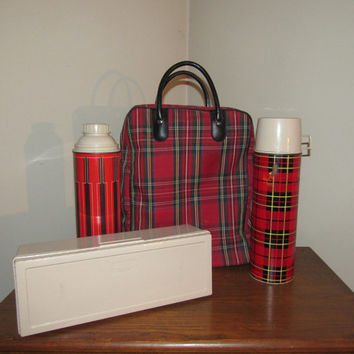 Mid Century Metal Plaid Thermos Set // Plaid Lunch Carry Case // 60s Picnic Camping Outdoor Food Storage // Tailgating