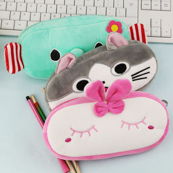 1 Pcs Cute Cartoon Plush Pencil Case Kawaii School Kids Cat Elephant Pencil Box Animals Stationery