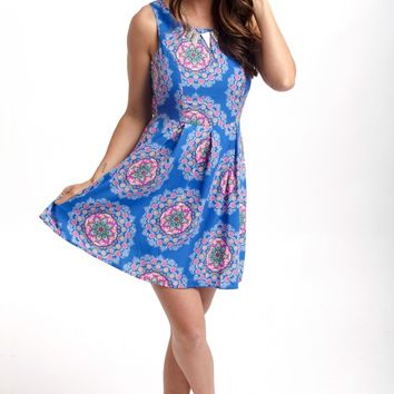 Royal Multi-Color Bohemian Printed Fit and Flare Dress