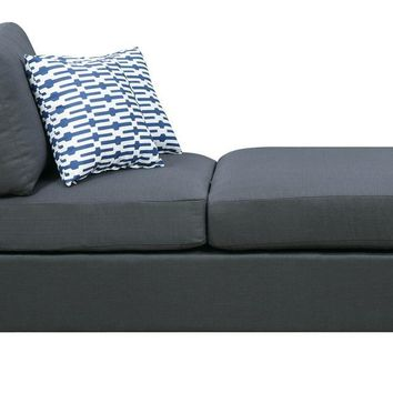 Blended Linen Chaise With 2 Pillows In Slate Black