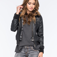 Full Tilt Faux Leather Plaid Womens Bomber Jacket Black  In Sizes