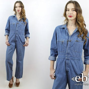 3f938522c5b7 Mechanic Jumpsuit Vintage 70s Lee Denim Jumpsuit M 1970s Jumpsuit 70s  Jumpsuit 70s Coveralls 70s Overalls