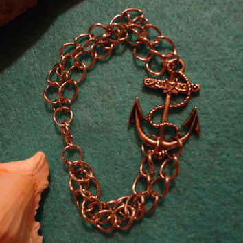 Nautical Anchor Double Chain Bracelet - $10.00 - Handmade Crafts by Sea Siren Rockstar