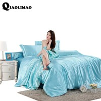 New Solid Color Satin Faux Silk Grey Bedding set Duvet Cover Set Silky Bed cover 3/4PCS US Twin Queen King UK Single Double King