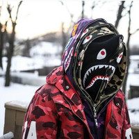BAPE SHARK  Tide brand ape man WGM camouflage shark head men and women couple hooded windbreaker coat Blue camouflage