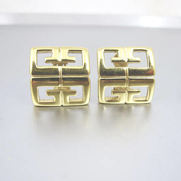 Givenchy Earrings. GG Logo Gold Semi Hoop Clip On Earrings. Vintage Givenchy Logo Jewelry