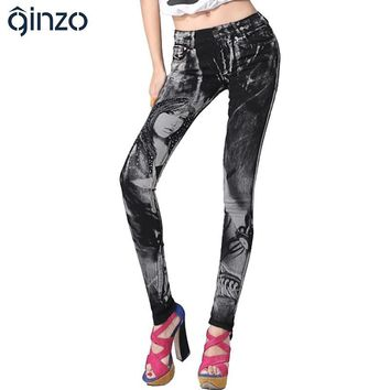 Women's print jeans rhinestone sexy beauty painted pattern denim long trousers  slim skinny pencil pants