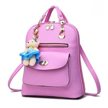 Preppy Faux Leather Backpack