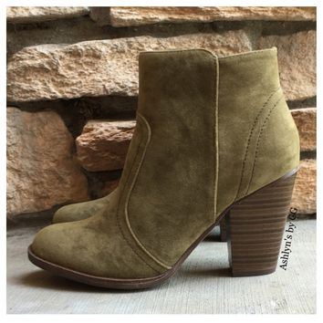 """Style and Flare"" Always Faithful Olive Heel Bootie Boots"
