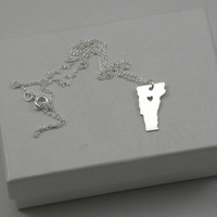 Sterling Silver State Love Heart Necklace  by McLaughlinCreations