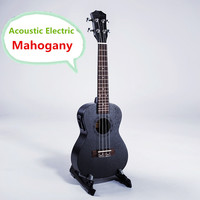 Soprano Tenor Acoustic Electric Ukulele 21 23 26 Inch 4 Strings Handcraft Black Mahogany