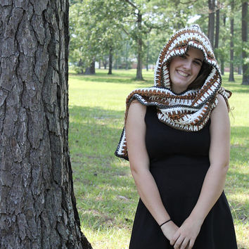 Handmade Hooded Scarf, Crochet Scarf, Women or Teen, Fall Multi Tones, Celtic Pattern Hoodie, Snood