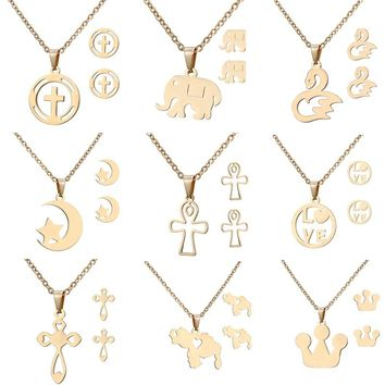 Exquisite geometry animal horse dragonfly Elephant Pendant Stud Earrings Women Jewelry Sets Gold-color Stainless Steel Set