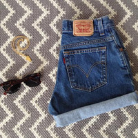 Levis High Waisted Cuffed Denim Shorts Dark Wash Jeans / xs s m l xl xxl