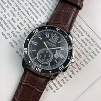 HCXX C048 Cartier Simple Leisure Automatic Leather Watchand Watches Maroon Black