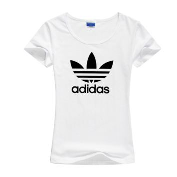 """""""Adidas"""" Women Simple Casual Classic Clover Letter Print Round Neck Short Sleeve Cotton T-shirt"""