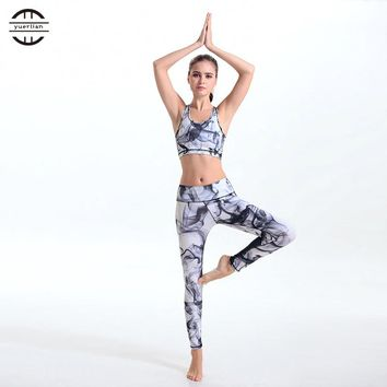 YEL 2017 New Arrival Printed Women Yoga Sets Running Sport Bra Leggings Fitness Clothes Set Spandex Workout Clothing 2Pcs Suit