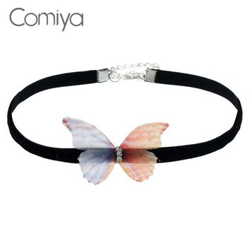 Comiya Butterfly Pendant Choker Link Chain Colar Collare Feminino Necklaces Women Jewelry Statement Vintage Collier Necklace