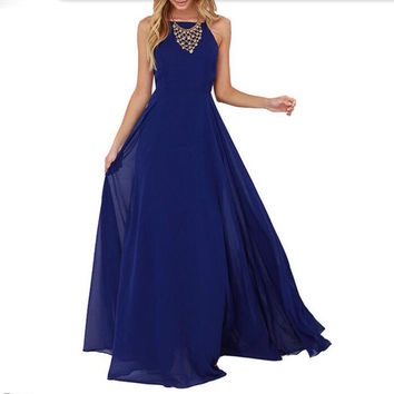 Ladies Summer Style Vogue Dresses Sleeveless Criss Cross Blue Spaghetti Strap  Back Backless Maxi Dress