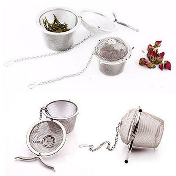 Practical Tea Ball Spice Strainer Mesh Infuser Filter Stainless Steel Herbal Kitchen Tools